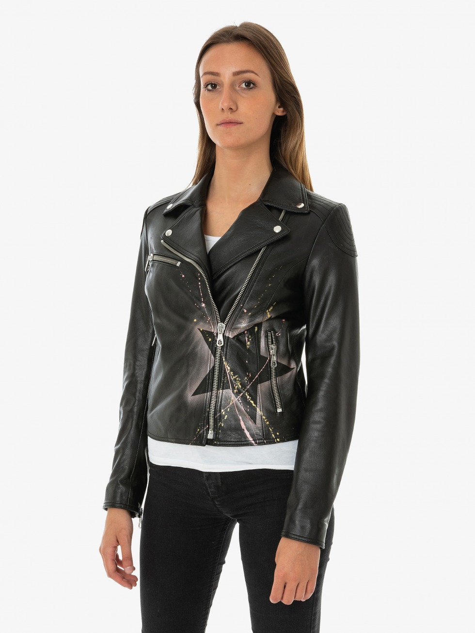 Agata Black Bomber - Quartz Star & Heart