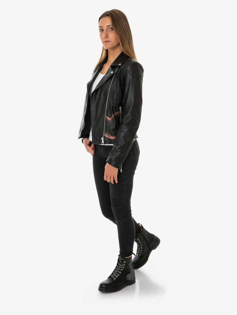 Ambra Black Biker Jacket - Smoked Red Lipstick Star