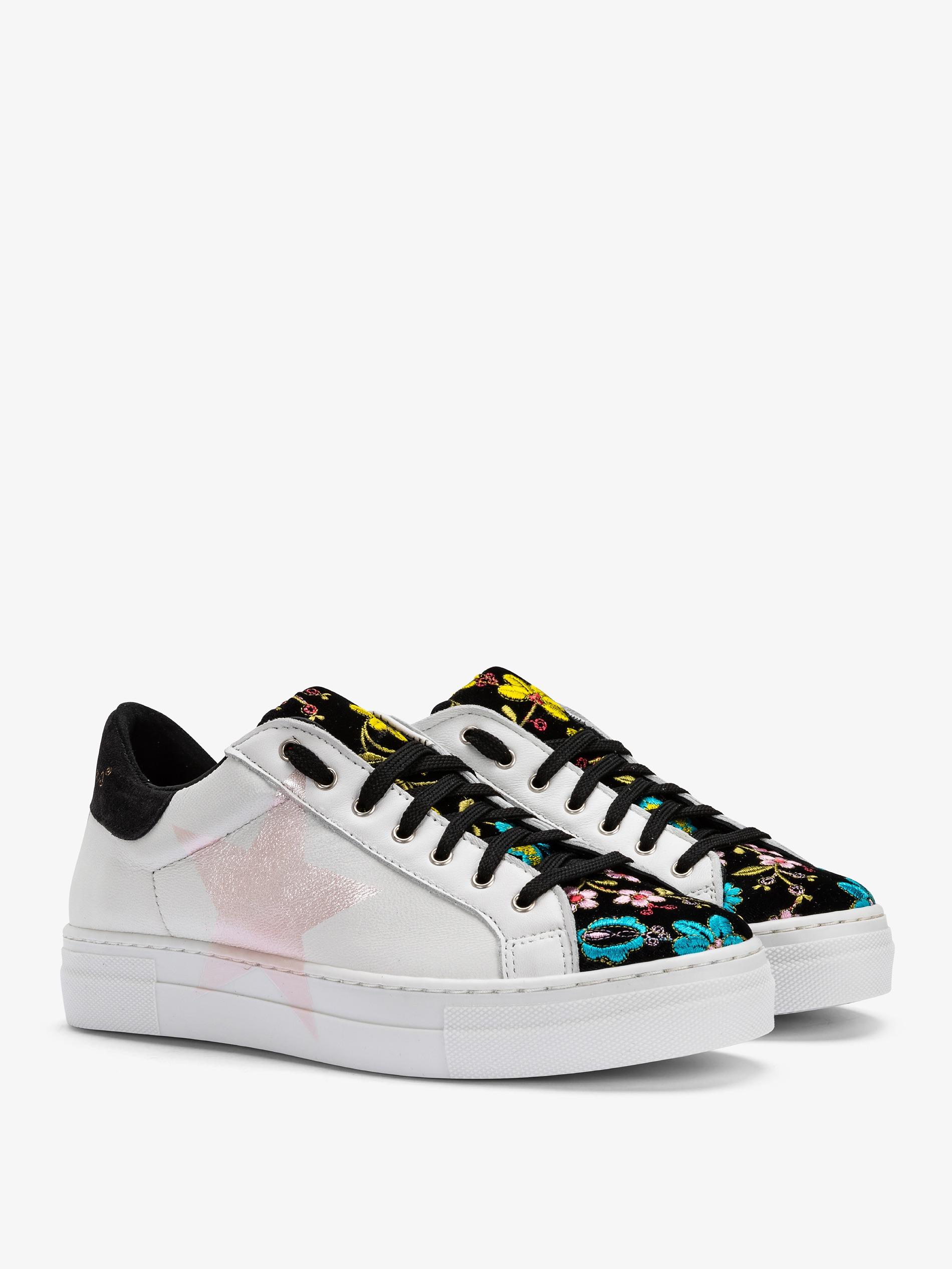 Con Fiori Colorati Sneakers Ricami A Contrasto Lacci In Donna E g501qwxI1