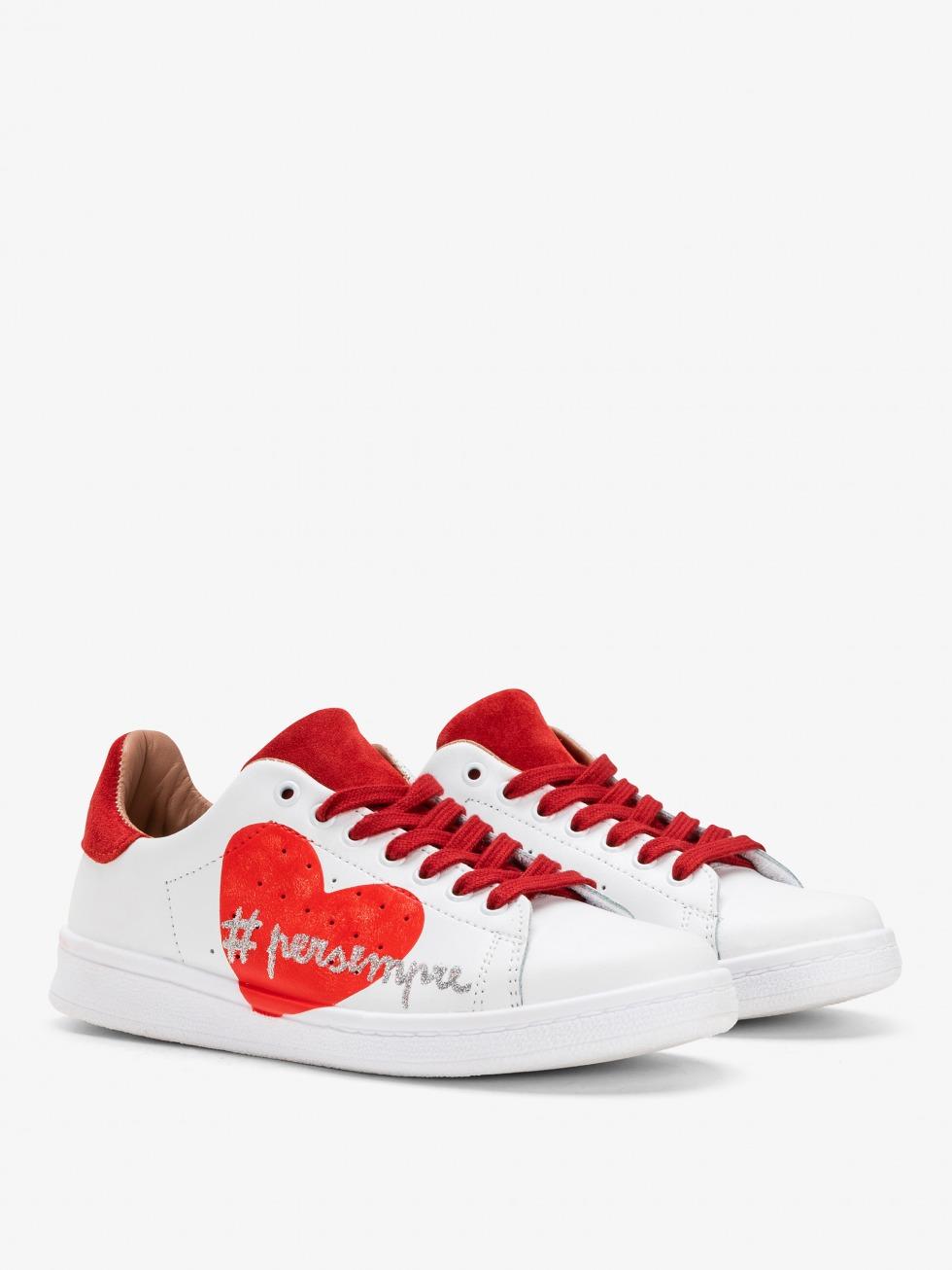 Sneakers con cuore rosso - Modello Daiquiri