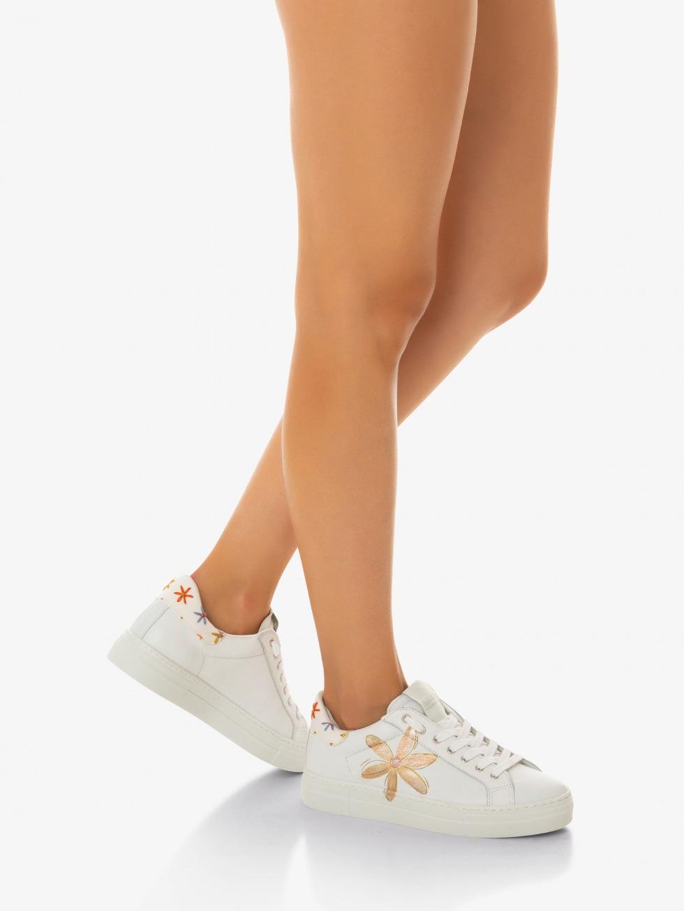 Martini White Sneakers - Flowers