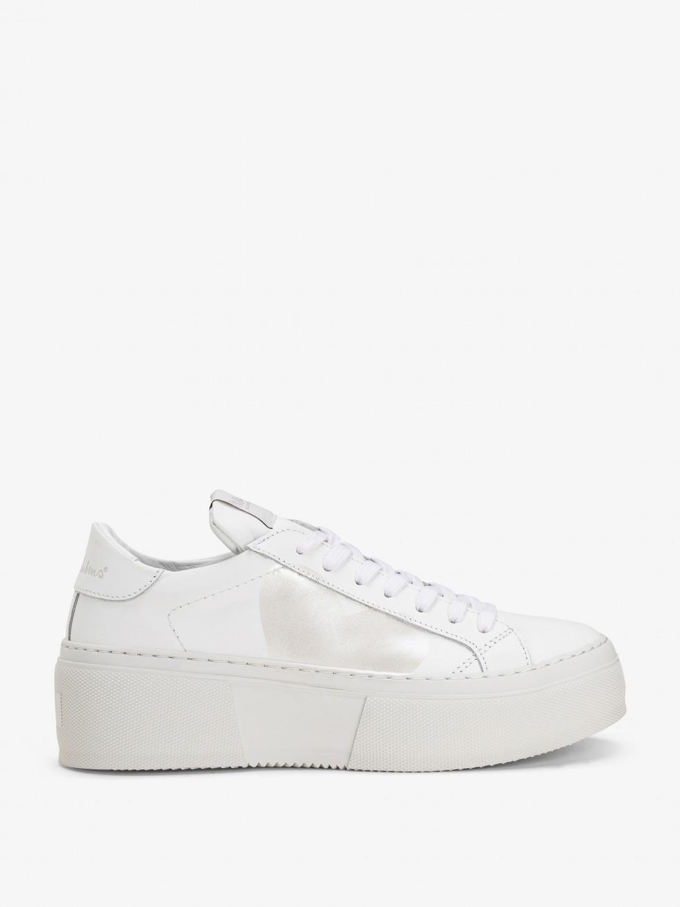Platform Mimosa White Sneakers - Nacre Heart
