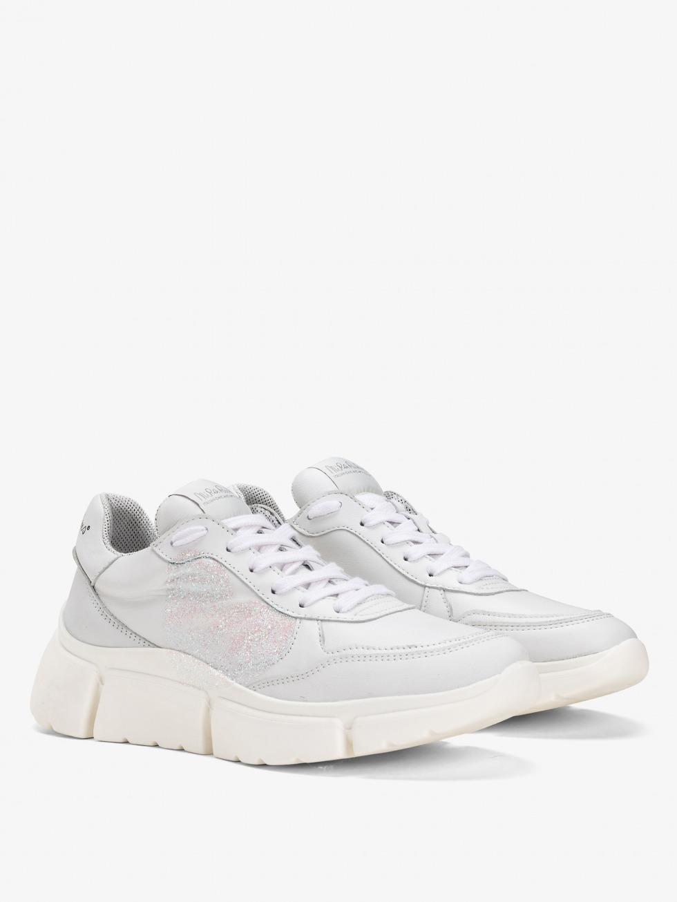 Stinger Chunky Sneakers - White Glitter Heart
