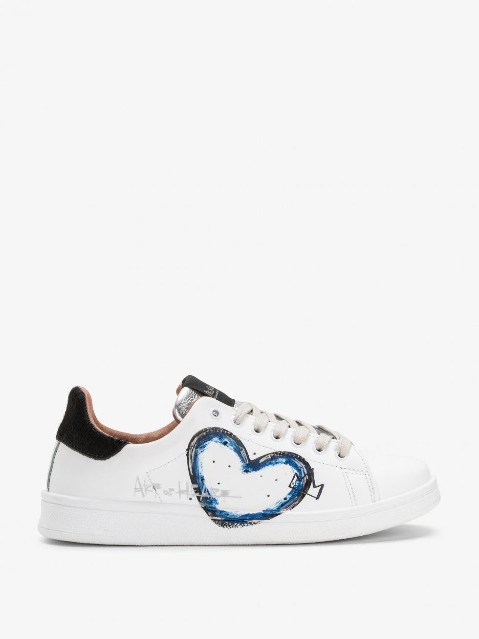 Sneakers bianche da donna - Black Art of Heart Blue