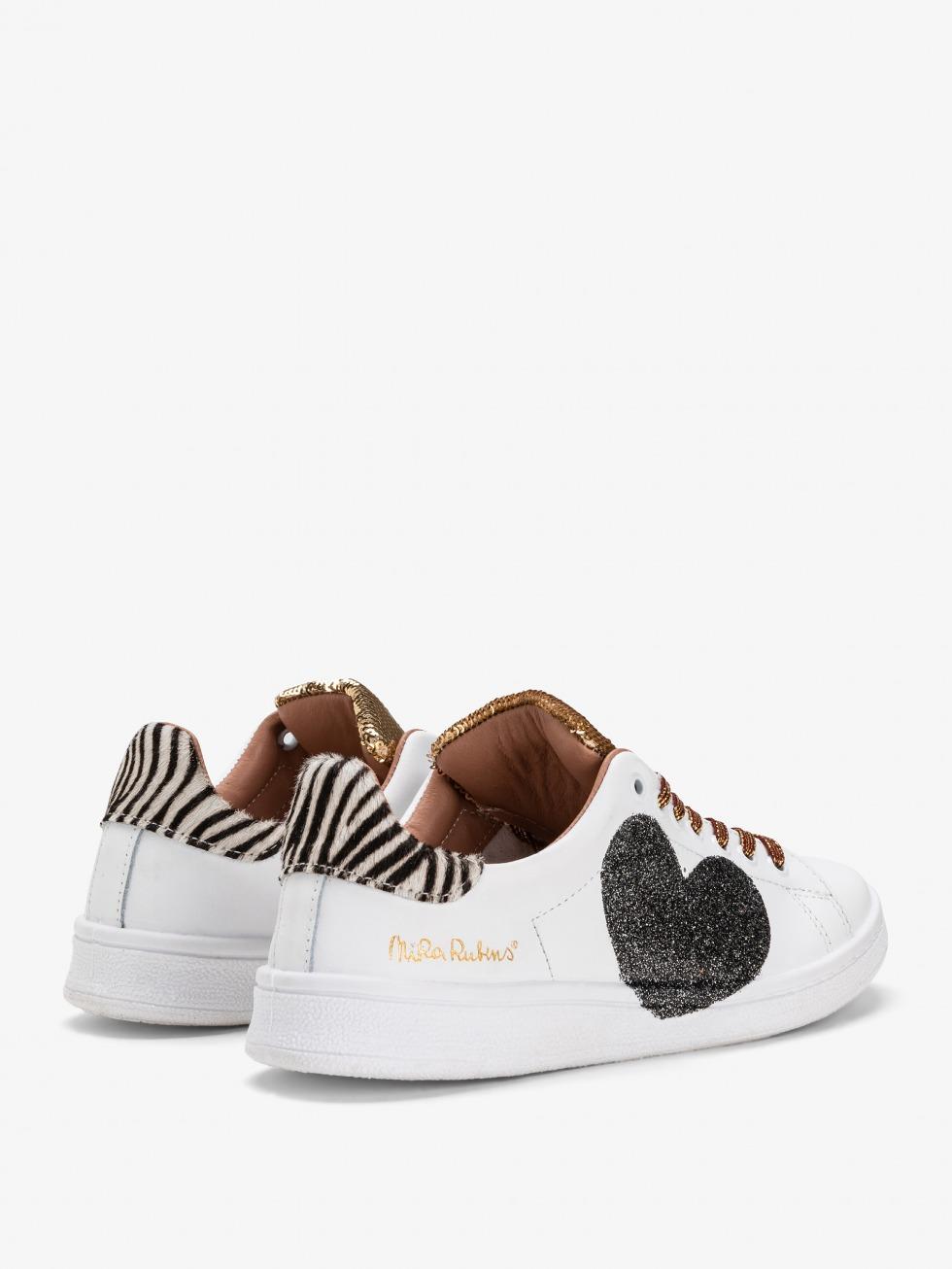 Daiquiri Gold Mini Zebrina Sneakers - Sparkle Heart