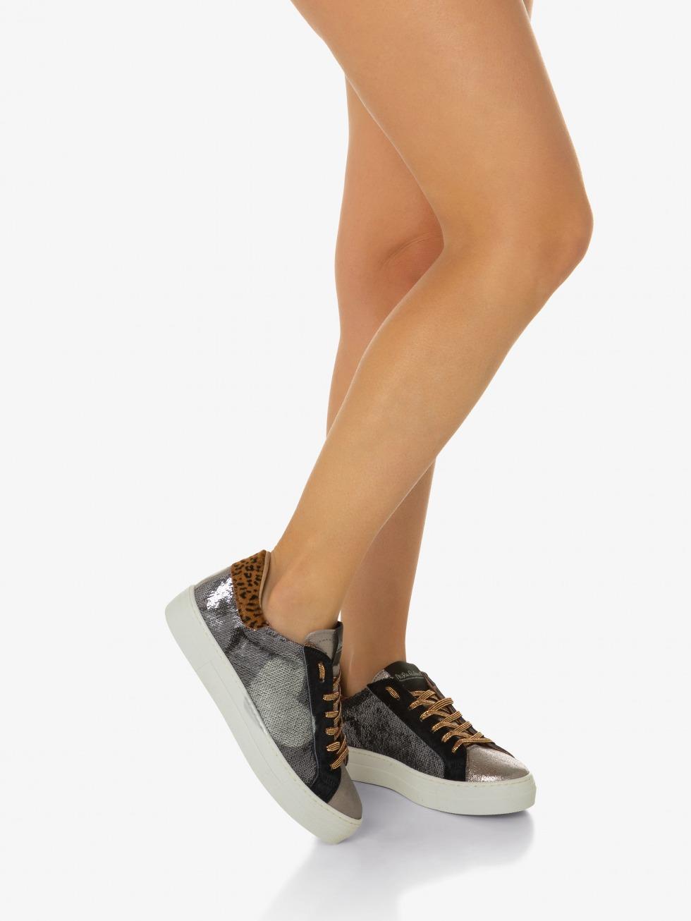 Silver Sparkle Martini Sneakers - Heart