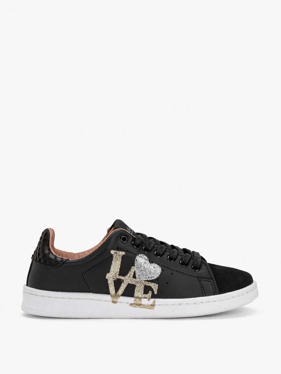 Daiquiri Boa Black Sneakers - Glitter Love