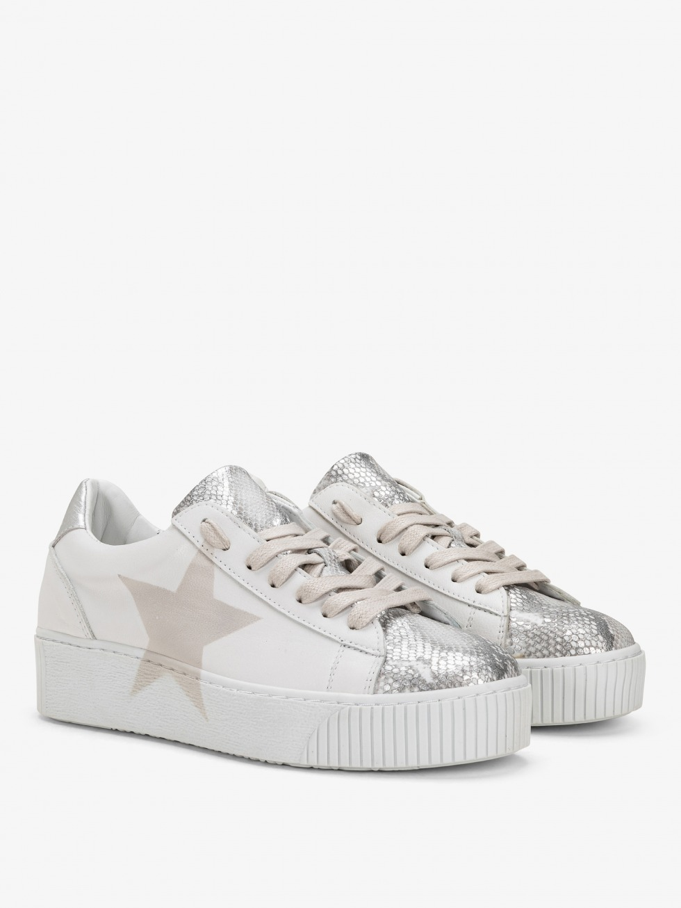 Cosmopolitan Sneakers - White Python Star