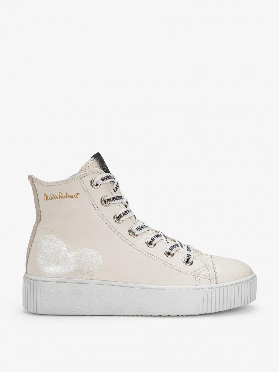 Long Island Sneakers - White Python Heart