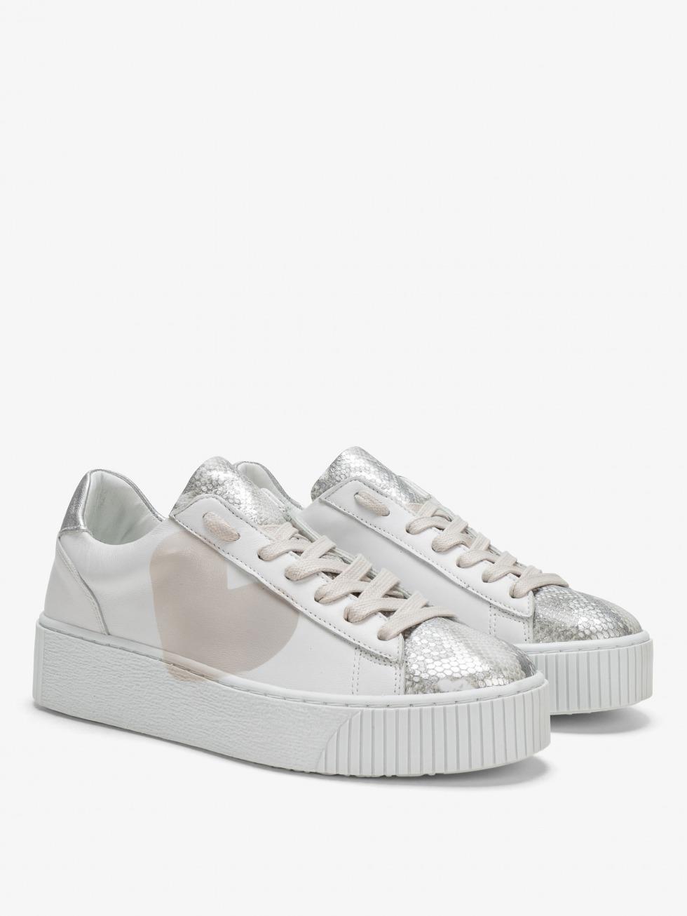 Cosmopolitan Sneakers - White Python Heart
