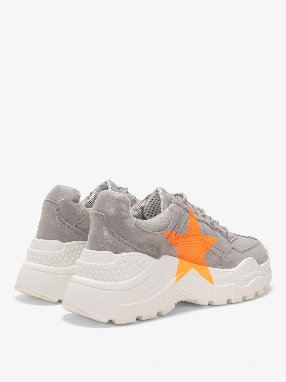 Aviations Chunky Sneakers - Stardust Neon Orange Star