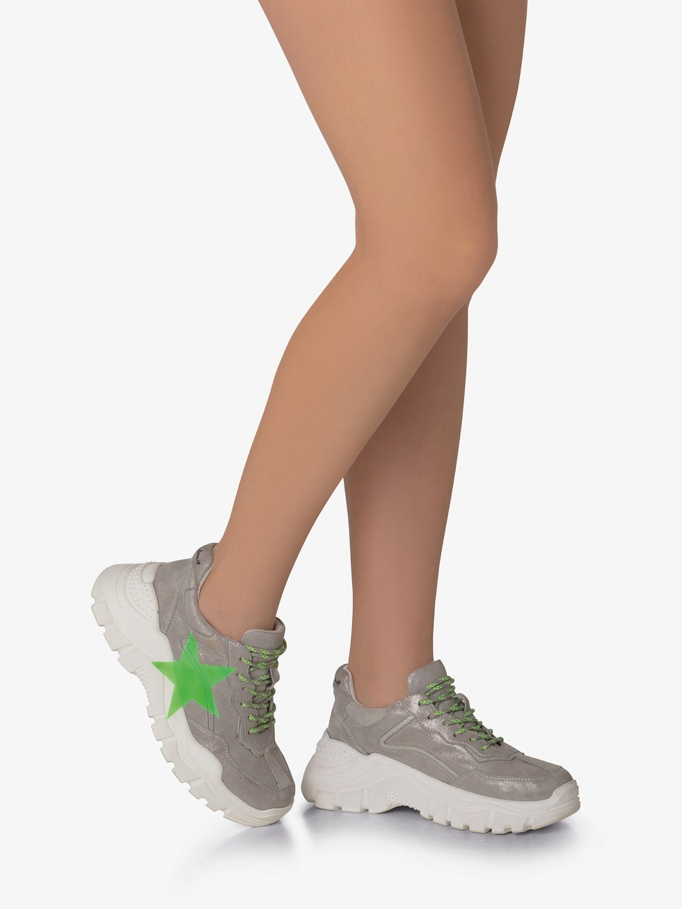 Aviations Chunky Sneakers - Stardust Neon Green Star