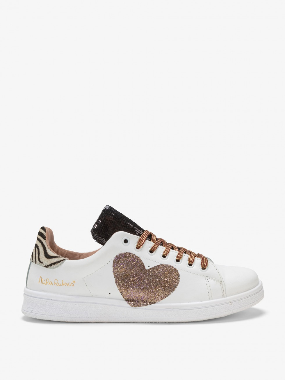 Daiquiri Black & White Sneakers - Bronze Heart