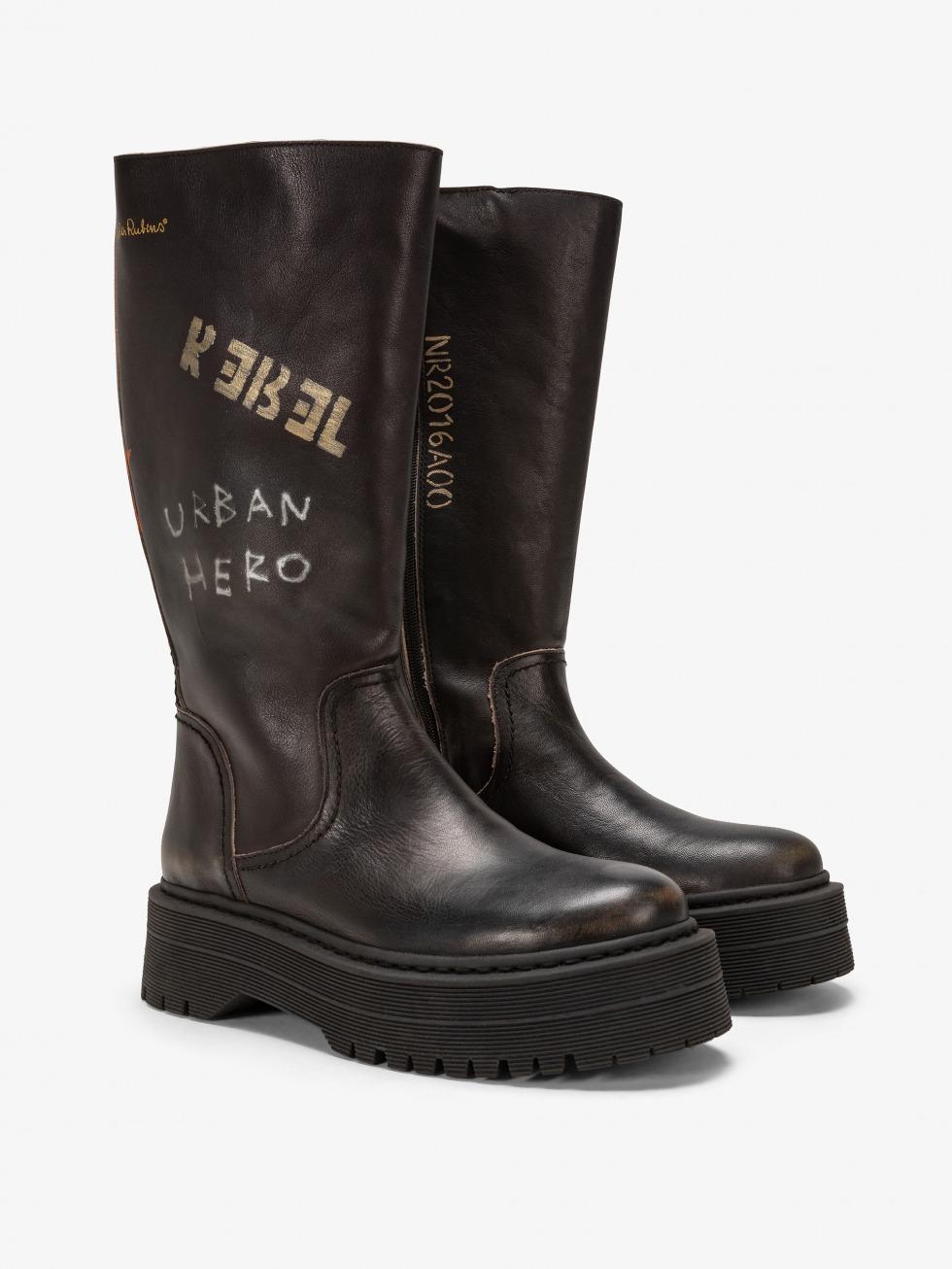 Frozen Top Boot - Rebel Black Vintage