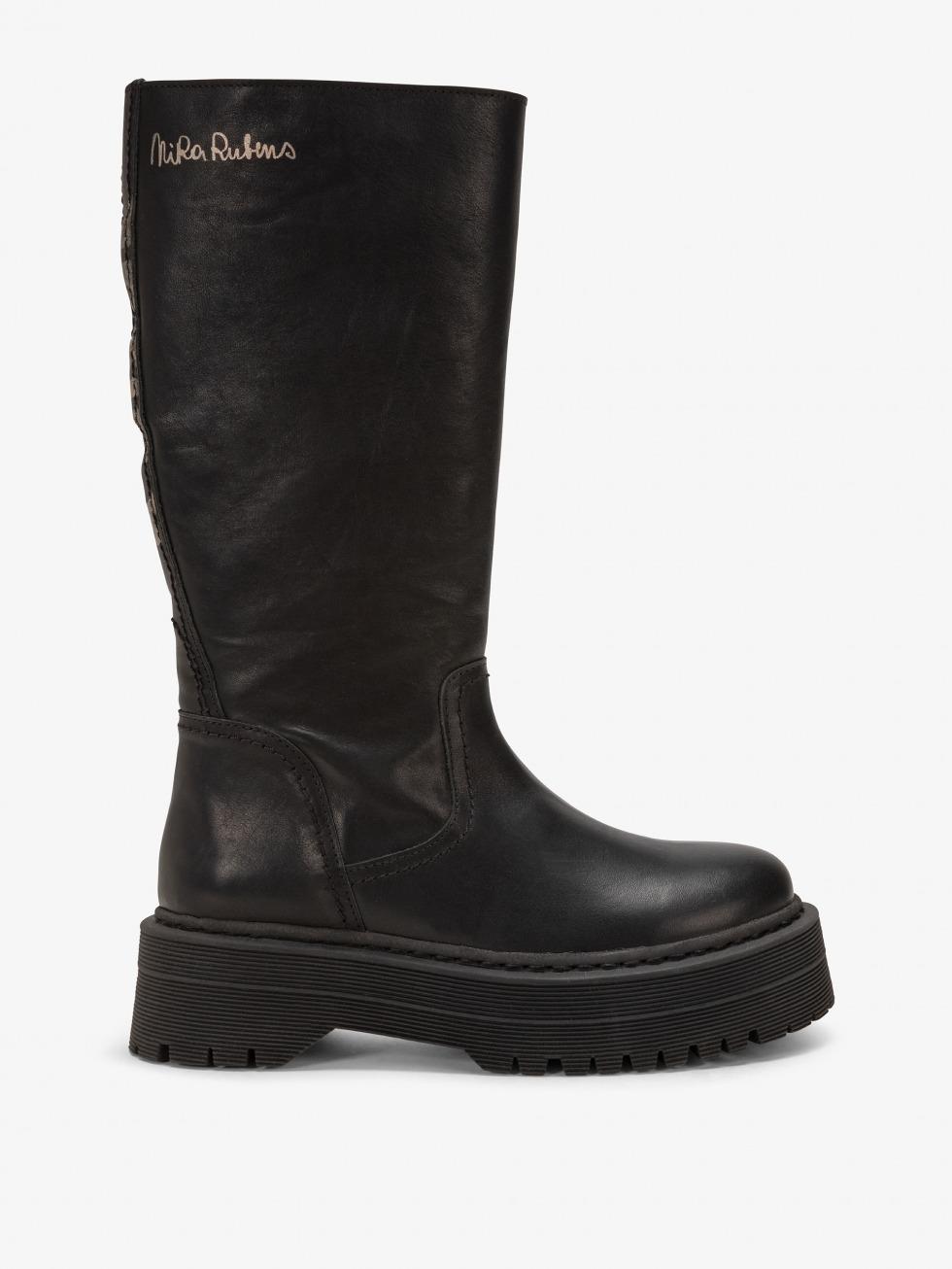 Frozen Top Boot - Rebel Black Fur