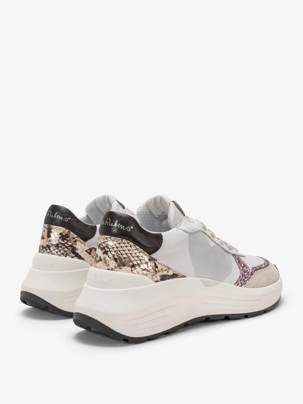 Stinger Chunky Sneakers Python Rose - Heart