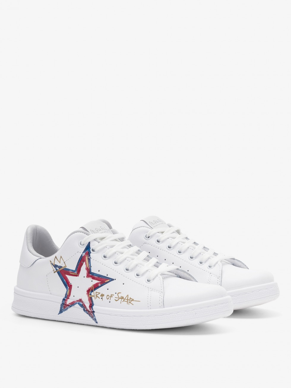 Daiquiri White Sneakers - Red and Blue Art Of Star