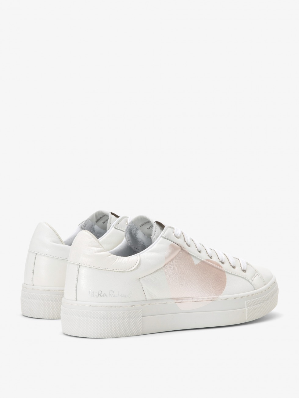 Martini White Sneakers - Pink Mother of Pearl Heart
