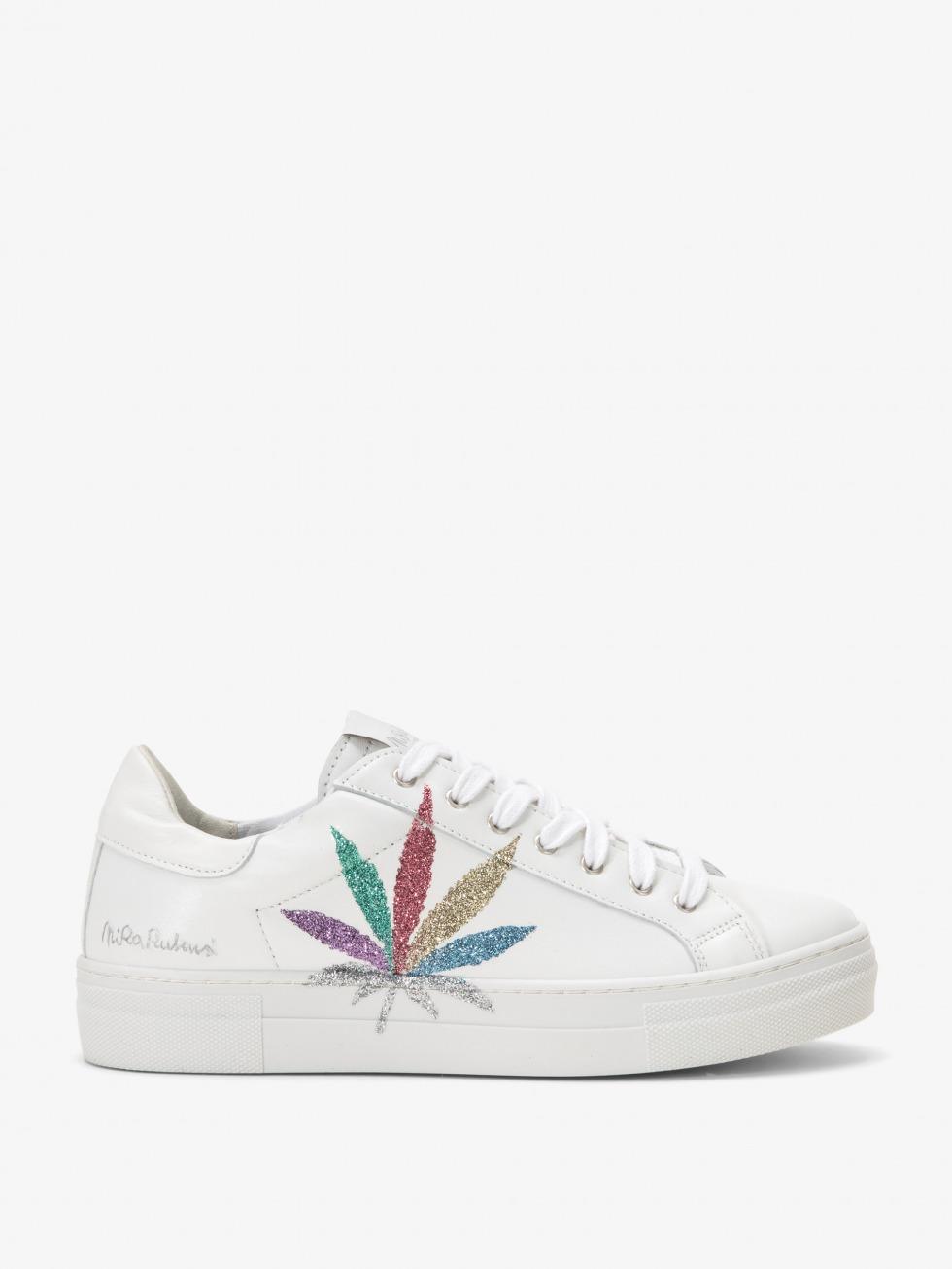 Martini White Sneakers - Multicolor Glitter Leaf
