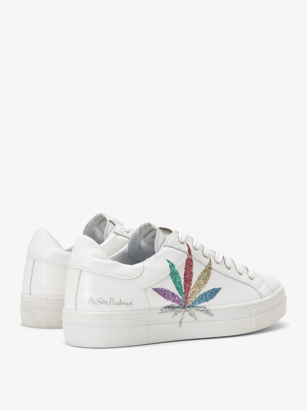 Martini White Sneakers - Multicolor Glitter Leaf