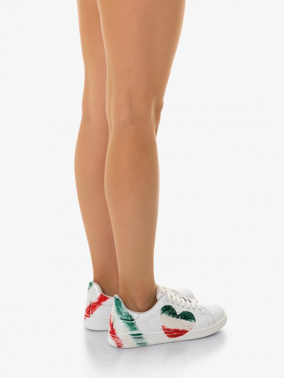 Daiquiri White Sneakers - Italy Flag Heart