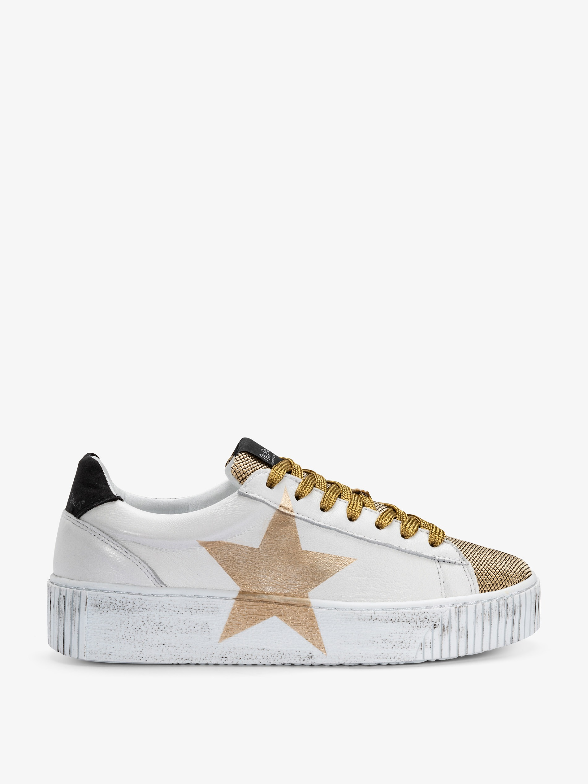 049a0645fd4b Women's white and gold sneakers with star - Trendy sneakers 2019
