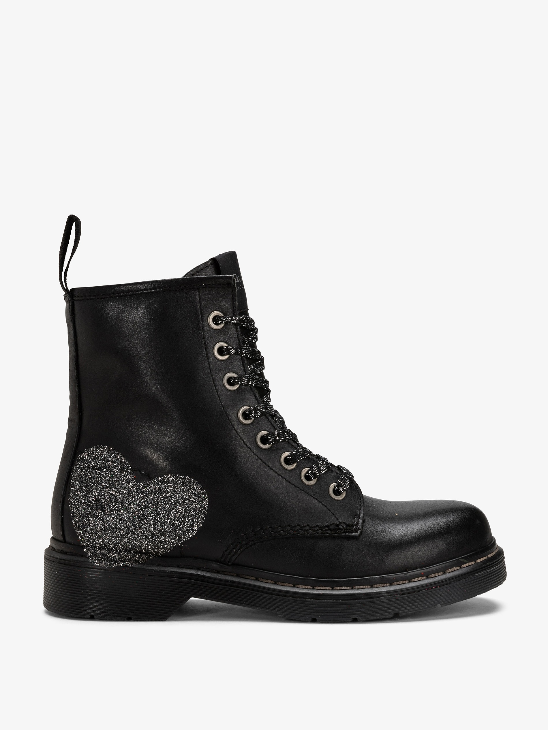 8333dbe6b7e Lace up boots hand painted with silver glittery heart